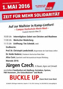 Plakat zur Maifeier 2016 in Kamp-Lintfort